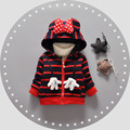 Niños bebés Niños Prendas de Abrigo Moda Niños Chaquetas para Niños y niñas de Rayas Chaqueta de Invierno Cálido Con Capucha Ropa de Niños