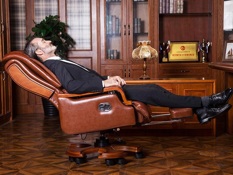 Leather Boss Chair Can Lie Down Office Chair Family Cowhide Big Class Chair Massage Solid Wood Swivel Chair Computer Chair.