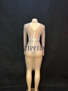 Image 4 - Świecący duże kryształy Mesh perspektywa sukienka suknie wieczorowe urodziny świętuj kostium piosenkarka wydajność taniec YOUDU