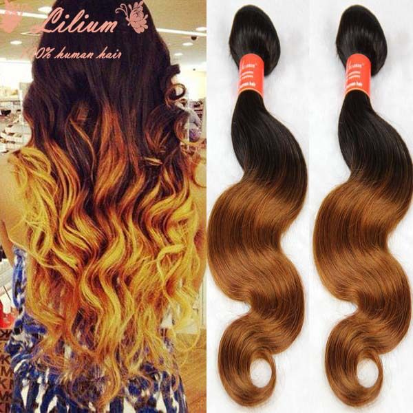 3pcs Ombre Hair Extensions Bresilienne Body Wave Wavy Ombre Hair