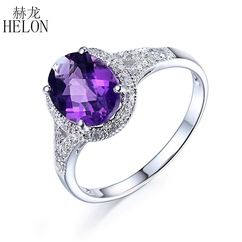 HELON Certified Oval Cuut Flawless Amethyst Ring Solid 14K White Gold Diamond Ring For Women Engagement Trendy Fine Jewelry Ring jewlery sets vintage solid 14k white gold green amethyst diamond earrings for women fine amethyst jewelry