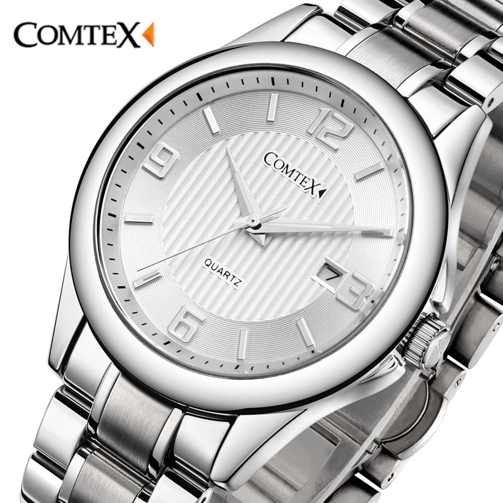 ФОТО Comtex Quartz Watch Men big dial watch Stainless Steel Bracelet character watch Fashion Brand Watch Relogio Masculino male gift