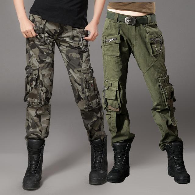Senhora queda de espessura uniforme ferramental calças de camuflagem retas calças calça casual bolso multi