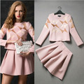 Free delivery 2016 spring and autumn fashion boutique leisure suit jacket and skirt with the size of s -XL wholesale and retail