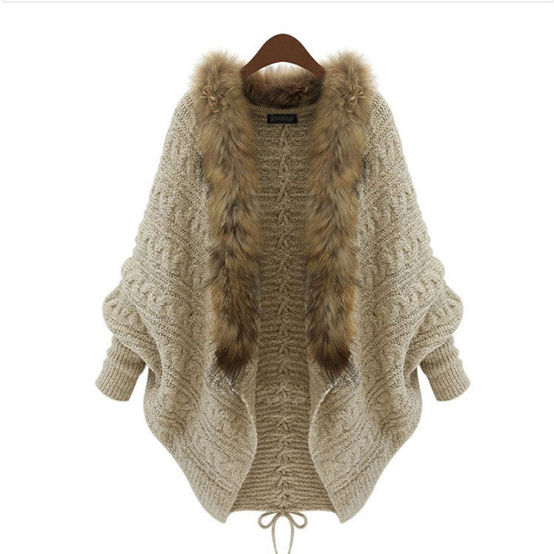 ФОТО Batwing Sleeves Lady Knit Sweater Coat 2016 Casual Fashion Winter Autumn Woolen Women Cardigans Jacket Fur Collar Warm Clothes