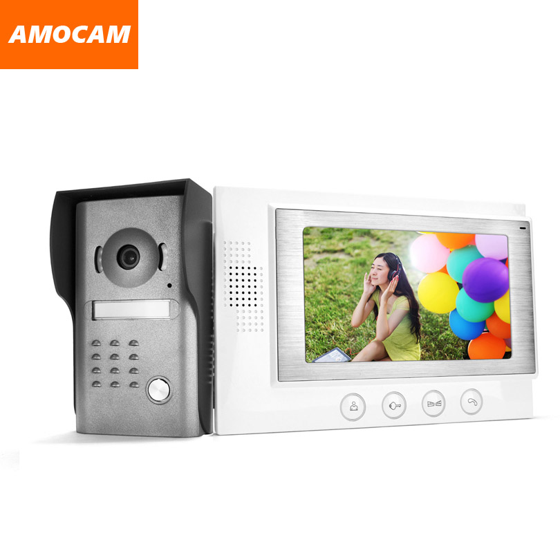 7 LCD Monitor Wired Video Intercom Door Phone Doorbell Door Viewer IR Night Vision Home Security Kits for Villa Home