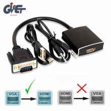 1080P VGA to HDMI Converter Adapter for Computer Desktop,Laptop,PC,Monitor,Projector,HDTV with Audio Cable and USB Cable