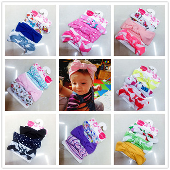 3 pcs / set new children elastic band hair girls mix styles dots tied turban headwear bowknot Flower Hair Accessories, 2018 Girls Accessories