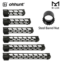 ohhunt AR15 Free Float M LOK Handguard Picatinny Rail Slim Style Steel Barrel Nut for Hunting Scope Mount With Sling Hole