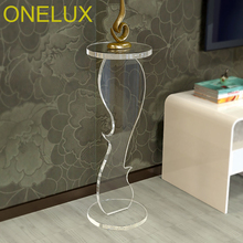 Custom Made Acrylic Sprial Pedestal Table, Lucite Transparent Plant/Sculpture Stand free shipping acrylic clear desk table mini acrylic lucite table
