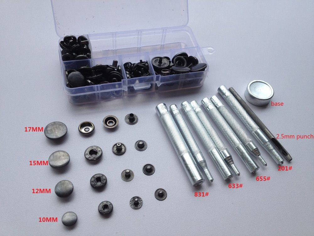 Set of 200 Snaps Fasteners 12mm and 15mm 3 Part Hand Tool Hole Punch Kit DIY UK
