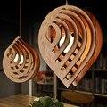 Скандинавский подвесной светильник  деревянная Подвесная лампа  Современная креативная DIY форма сердца для домашнего декора  освещение для...
