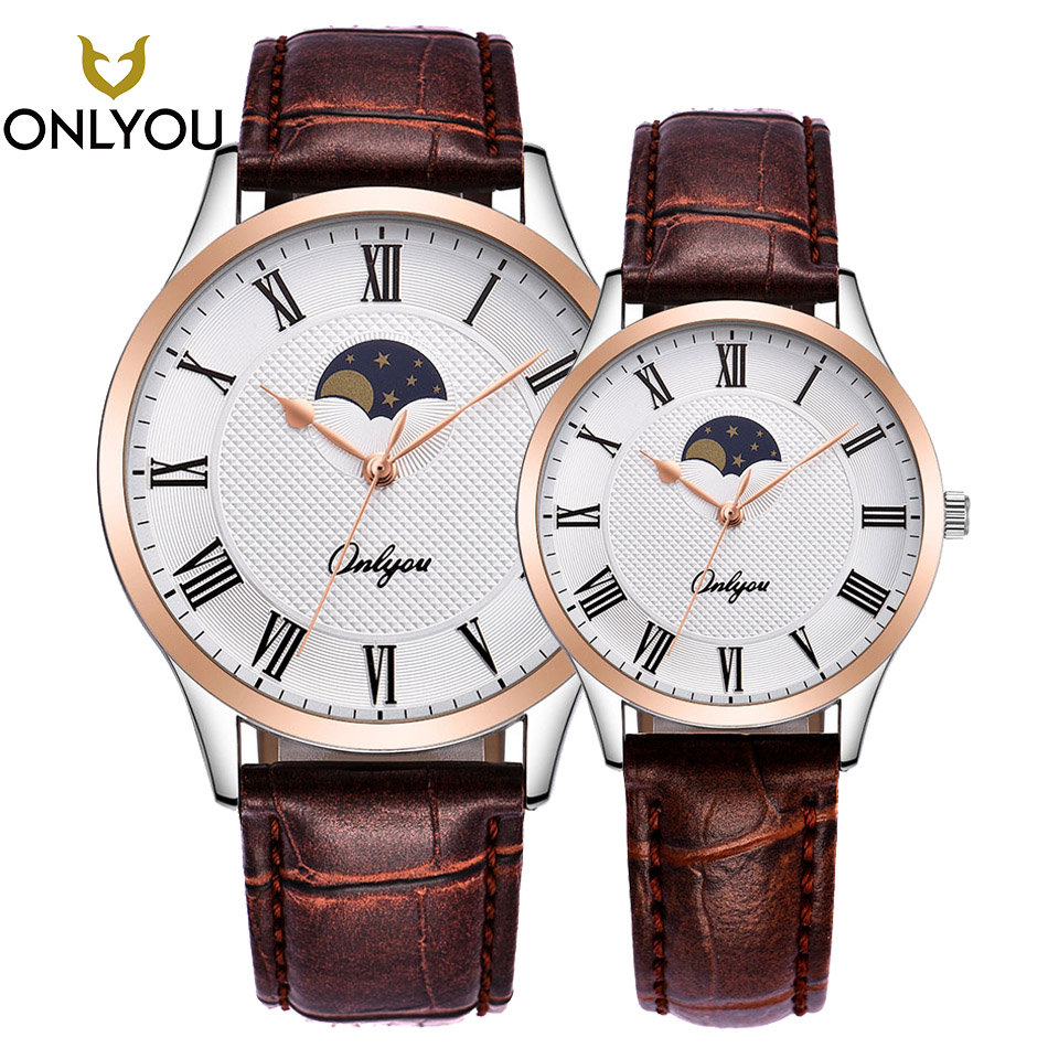 ONLYOU Women Watches Rose Gold New Brand Lovers Watch Luxury Leisure Leather Waterproof Quartz Men Watches Male Clock relogio onlyou men s watch women unique fashion leisure quartz watches band brown watch male clock ladies dress wristwatch black men