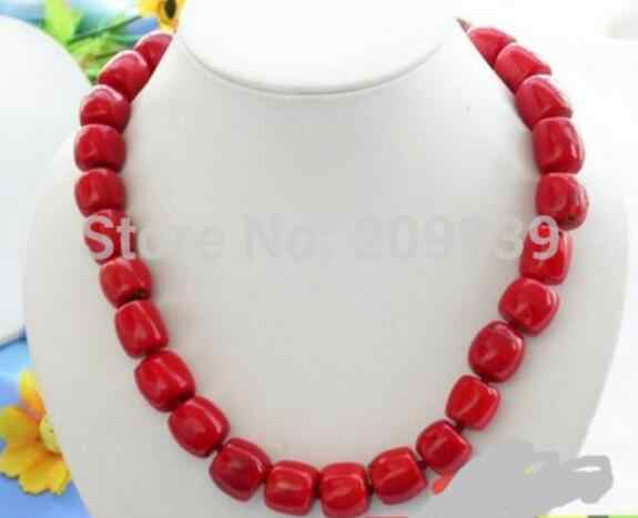 "Jewelry Pearl Necklace HUGE 19"" 16MM column red coral bead NECKLACE  Free Shipping"
