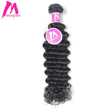Maxglam Peruvian Virgin Hair Deep Wave Unprocessed Natural Color Human Hair Weave Bundles Free Shipping(China)