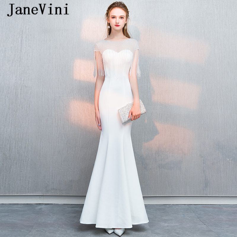 JaneVini 2018 Charming White Satin Beads Long   Bridesmaid     Dresses   Scoop Neck Sheer Back Floor Length Mermaid Prom   Dress   for Women