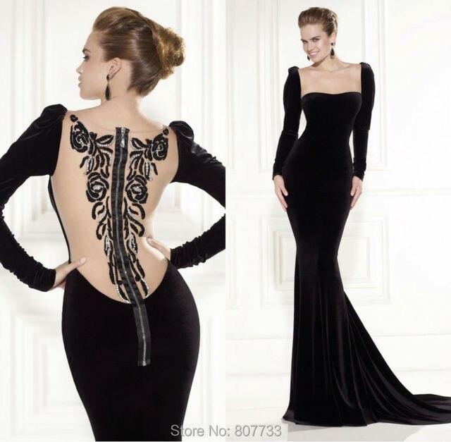 W060 Glorious square neckline beaded back mermaid black velvet ...