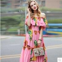 2017 Fashion Women S Dresses Summer Dress High End Silk Satin Material Printed Pineapple Dress Ukraine