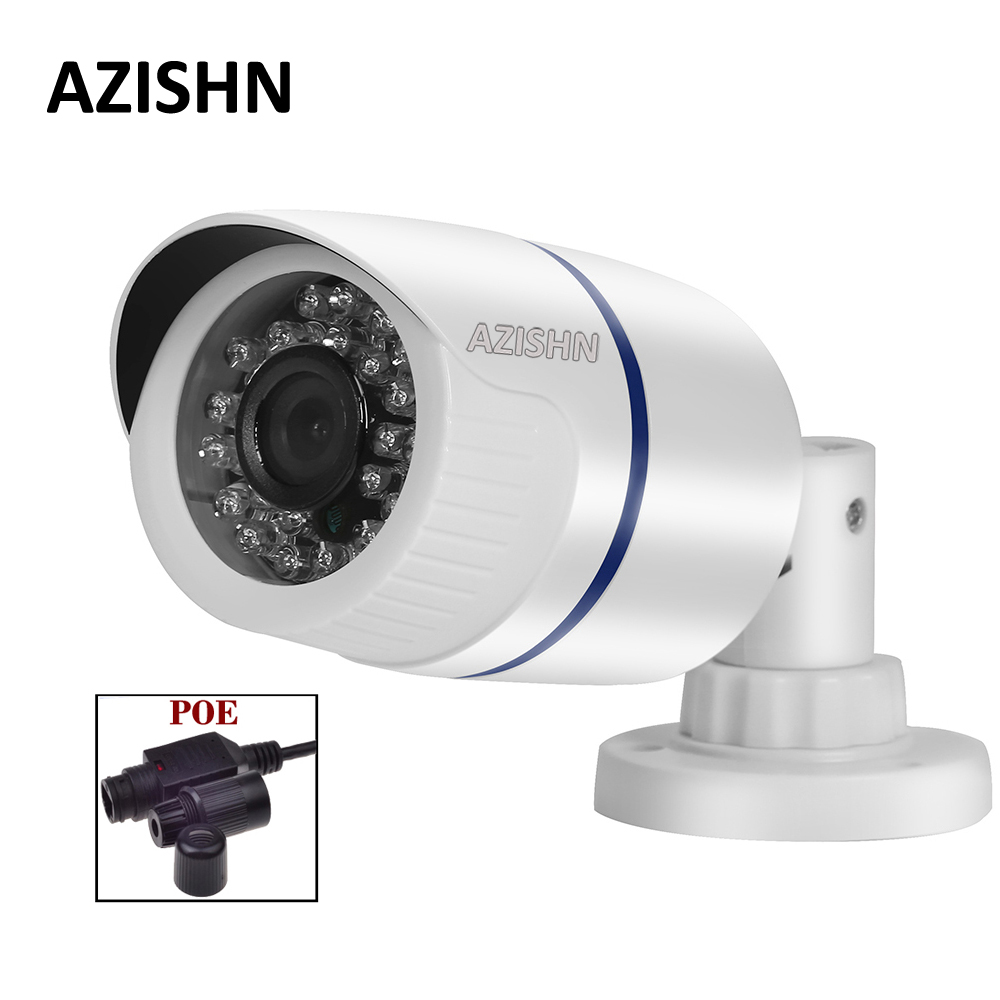 AZISHN IP Camera POE 720P/960P/1080P IR-CUT 24IR LEDS night vision P2P ONVIF Waterproof Security CCTV Camera POE Cable white 1280 720p 1mp onvif poe bullet ip camera outdoor waterproof p2p ir cut filter network camera mini night vision cctv security cam
