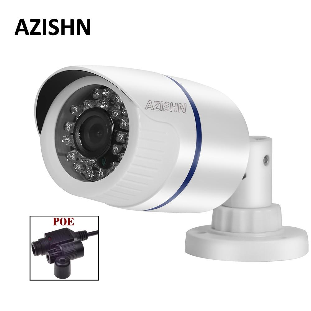 AZISHN IP Camera POE 720P/960P/1080P IR-CUT 24IR LEDS night vision P2P ONVIF Waterproof Security CCTV Camera POE Cable white