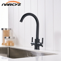 Free Shipping Black Color Kitchen Faucets Double Hands Round Bathroom Sinks Wall In Taps Double Hole