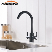 Free Shipping Black color Kitchen Faucets Double Hands Round Bathroom Sinks Wall-in Taps Double Hole Mix Water Tap XT-13