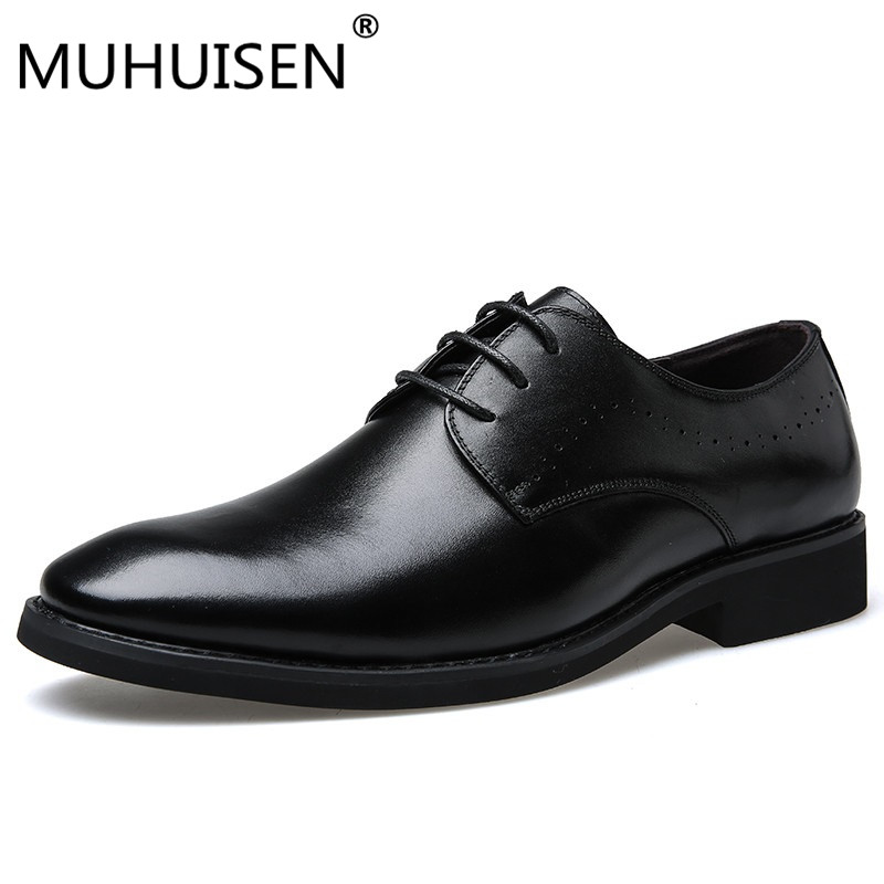 MUHUISEN High Quality Men Dress Shoes Genuine Leather Pointed Toe England Style Business Wedding Formal Flats Oxford Shoes genuine leather men dress shoes pointed toe mens oxfords designer business formal shoes wedding lace up office shoes men flats