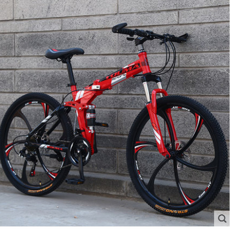 High quality mountain bike 26 inches 21 speed folding bike Front and rear damping bike