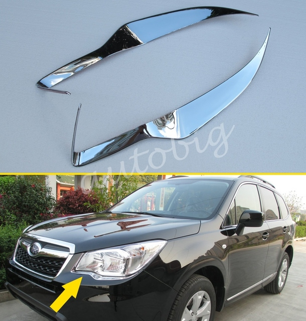 Head Light Cover For Subaru Forester Sj 2017 2016 Chrome Front Lamp Headlight Trims Styling Eyebrow