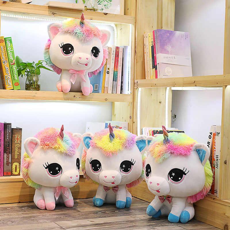 1pc 35cm kolorowe duża głowa pluszowe jednorożce śliczne Unicorn pary nadziewane Kawaii miękkie zabawki pluszowe dla dziewczyn walentynki prezent dla dzieci