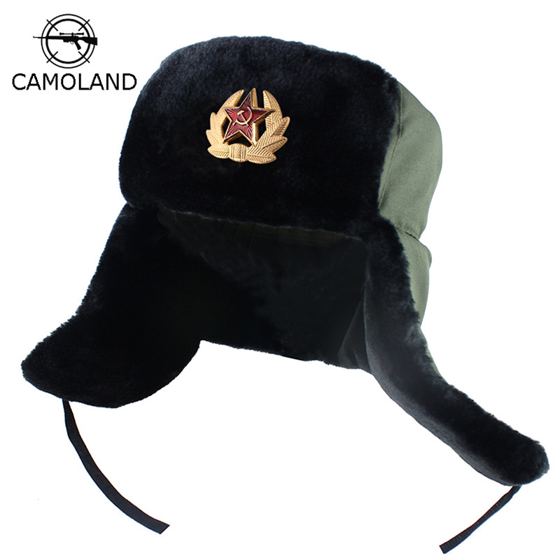 Soviet Army Military Badge Russia Ushanka Bomber Hats Pilot Trapper Trooper Hat Winter Faux Rabbit Fur Earflap Men Snow Caps