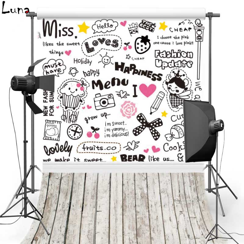 Cartoon Vinyl Backdrops Cartoon Letter Graffiti Wall Wood Floor Oxford Photography Background For Children photo studio F300