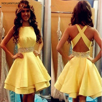 Sexy Yellow Homecoming Dresses Short Girls Satin Beaded Ribbon Cocktail Party Gowns Criss Cross Cheap Junior Graduation Gowns
