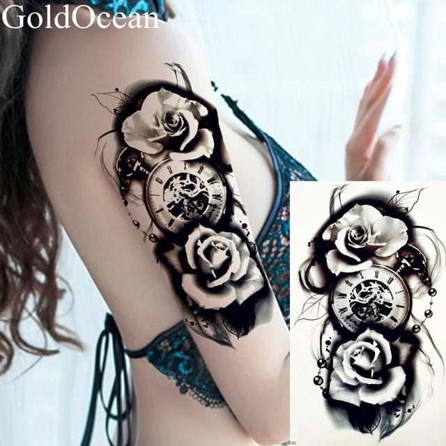 Rose And Clock Tattoo Stencil Tattoo Designs Ideas