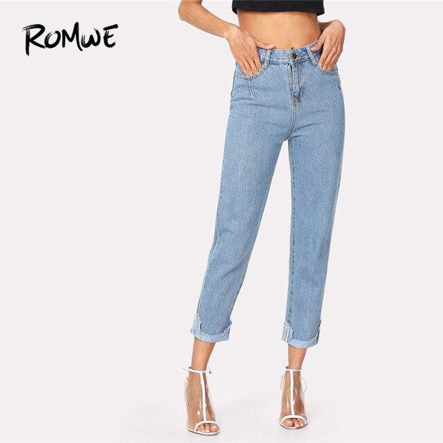 ROMWE Roll Up Frayed Hem Jeans Women Blue Button Fly Denim Pants 2018 Autumn Fashion Mid Waist Casual Jeans