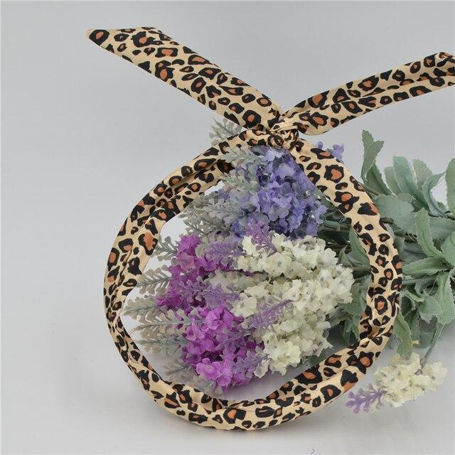 1 Pc Mignon Léopard Points lip imprimer fleur Lapin Oreille de Lapin Ruban Chapeaux Bandeau En Métal Fil Écharpe Bandeau Bande De Cheveux accessoires