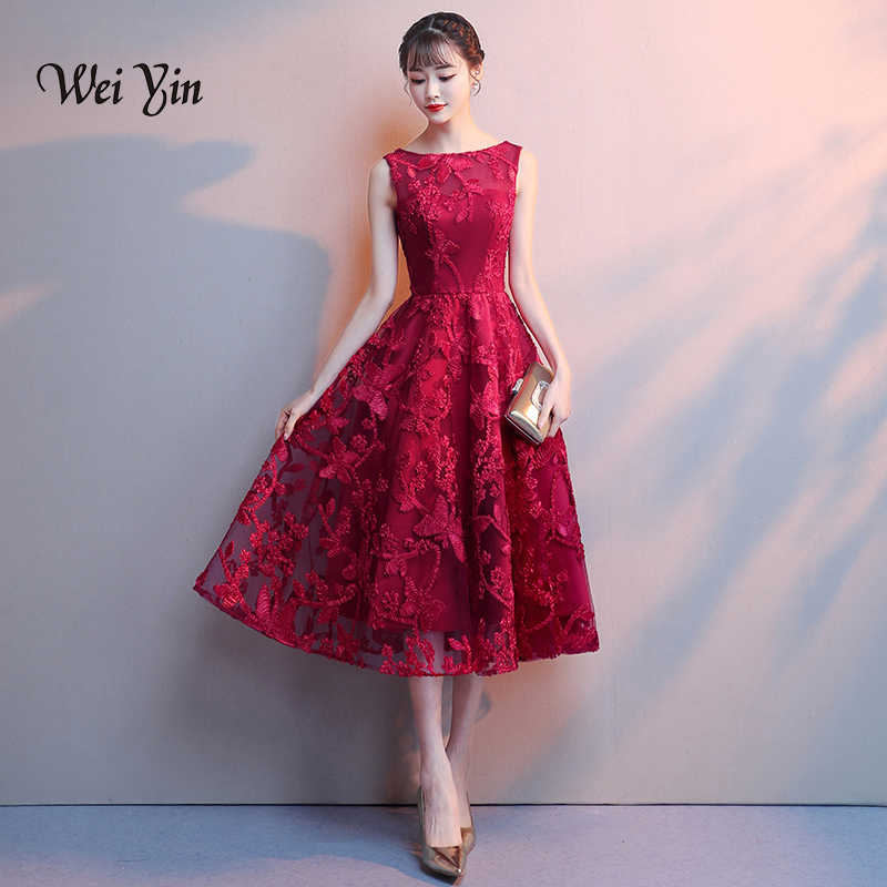 eb1736975865f weiyin Robe De Soiree Wine Red Lace Embroidery Sleeveless A line ...