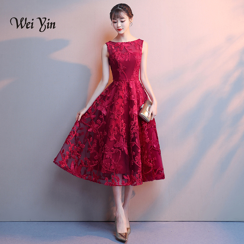 weiyin Robe De Soiree Wine Red Lace Embroidery Sleeveless A-line   Evening     Dresses   Banquet Elegant Party Formal Prom   Dress   WY871