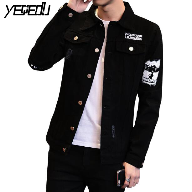 3426 Preppy Style Denim Jacket Men Black Jeans Coat Punk Slim