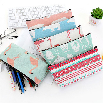 1PC Cute Polar Bear Canvas Pencil Cases Student Stationery Pen Bag Gifts School Office Pencil Bags Lovelty Pencil Pouch Pencil Cases