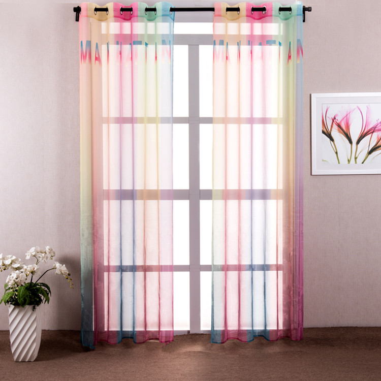 1 Piece Colorful Rainbow Sheer Curtains For Living Room Modern Window Curtain Bedroom Drapes
