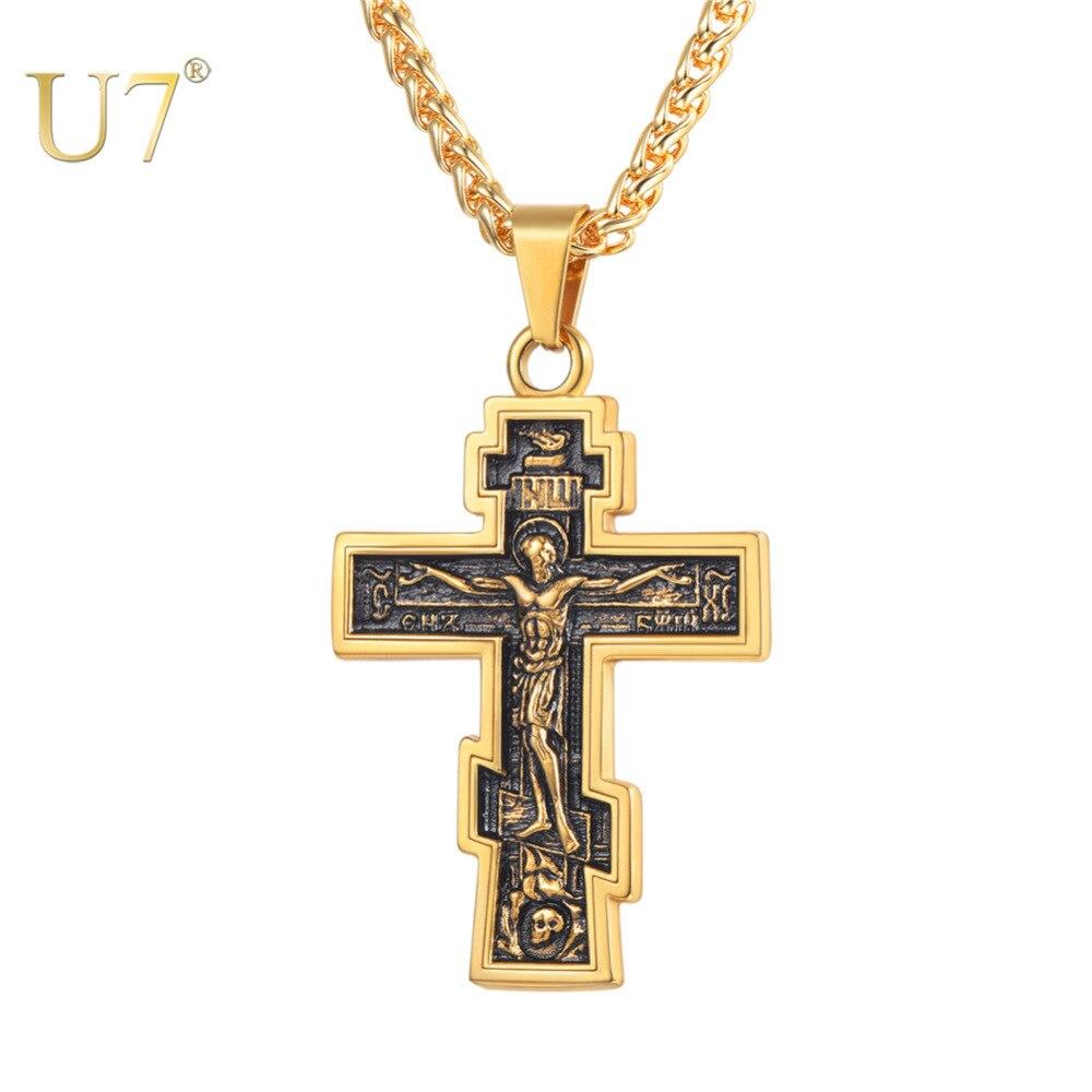 U7 Marke Christian Orthodoxe Kruzifix Jesus Russische Kreuz Gebet Große Anhänger Edelstahl Silber/Gold Farbe Männer Frauen Schmuck