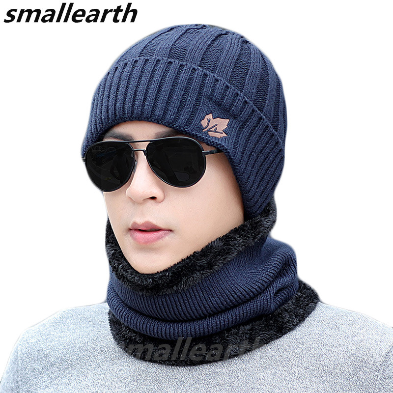 Winter Men's Knitted Hats Scarf Sets Outdoor Warm Beanies Unisex Maple Leaf Hat Set Male Thickening Plus Velvet Knit Cap Collar