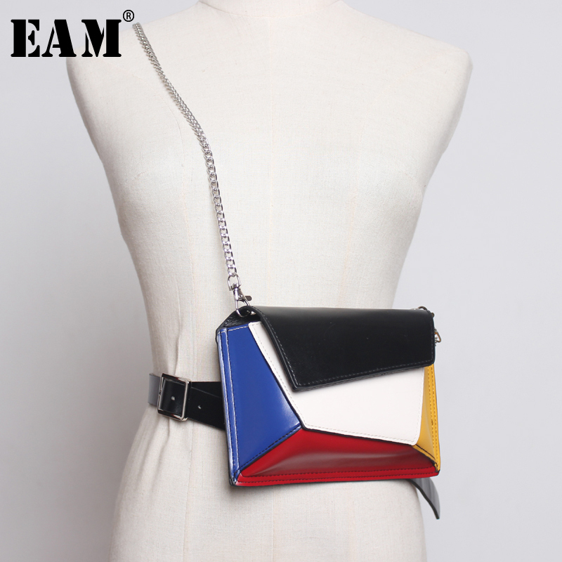 [EAM] 2019 New Spring Summer Pu Leather Chain Brief Personality Spliced Zippers Belt Women Fashion Tide All-match JX385