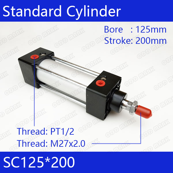 Standard air cylinders valve 125mm bore 200mm stroke SC125*200 single rod double acting pneumatic cylinder ruffle waist zip back scallop hem embroidered gingham skirt