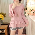 New Women Casual Basic Autumn Winter Cotton Linen Blouse Top Shirt blusas Solid O-neck patchwork Full sleeve Plus Size