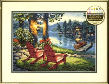 14/16/18/28/27 Top Quality Lovely Counted Cross Stitch Kit Twilight's Calm Moring Lake Chair House Villar dim 35261 image