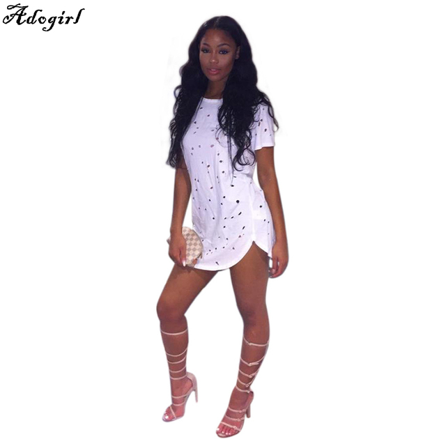 Adogirl Summer Holes T Shirt Women Fashion Sexy Black White Cotton Short  Sleeve Ripped Tops Shirts Casual Loose T-Shirt S-XL 3df0a9064d66