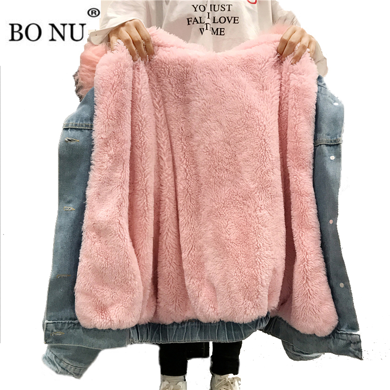 BONU Winter Fur Denim Jacket For Women Thick plus size Loose Casual Jean Coat Single Breasted Winter Jean Jacket chaquetas mujer
