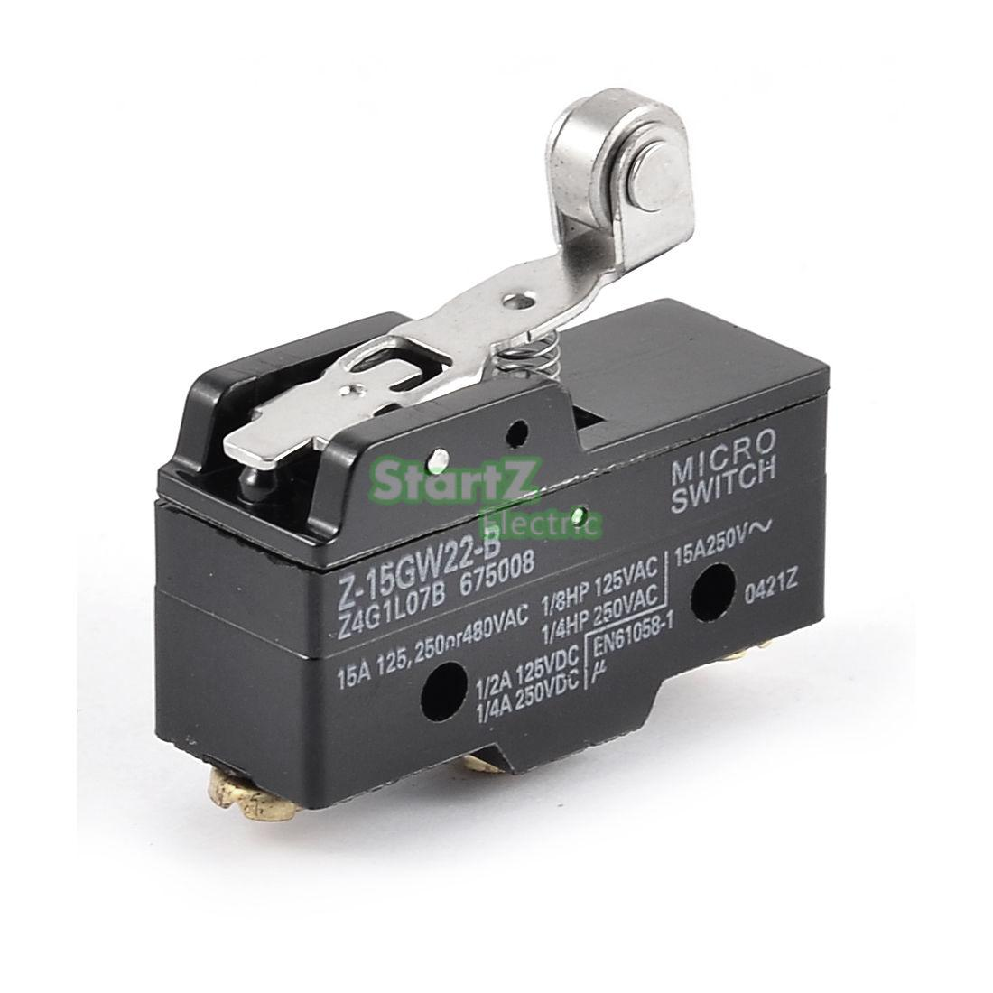 Short Roller Hinge Normally Open/Close Micro Lever Limit Switch Z-15GW22-B 5pcs safety micro limit switch v 15 1c25 roller lever snap action 250v 16a s08 drop ship